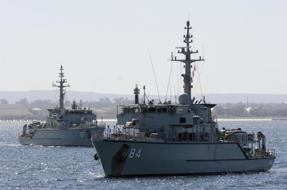 Huon Class Mine Hunter Coastals HMAS Norman (M84) and HMAS Yarra (M87) enter into Fleet Base West for Exercise PACIFIC REACH 07.
