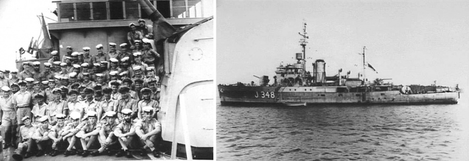 Left: Stawell's ship's company, circa 1944. (AWM P00636.002) Right: Stawell in Langamak Bay, New Guinea in 1944. (AWM P00636.002)