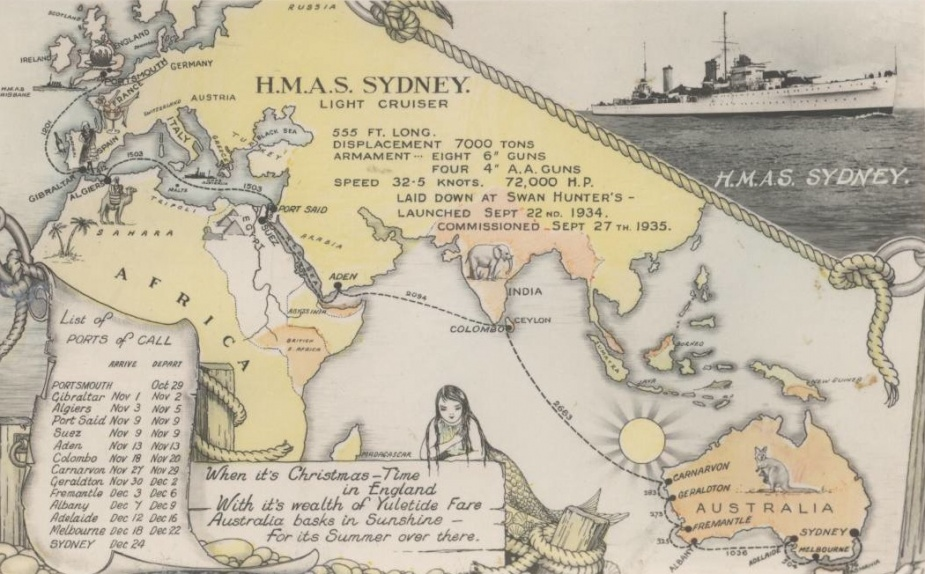 A postcard commemorating Sydney's first year in commission and her predicted maiden voyage to Australia. It transpired that not all of the ports forecast on this postcard were visited due to her involvement in the Abyssinia crisis.