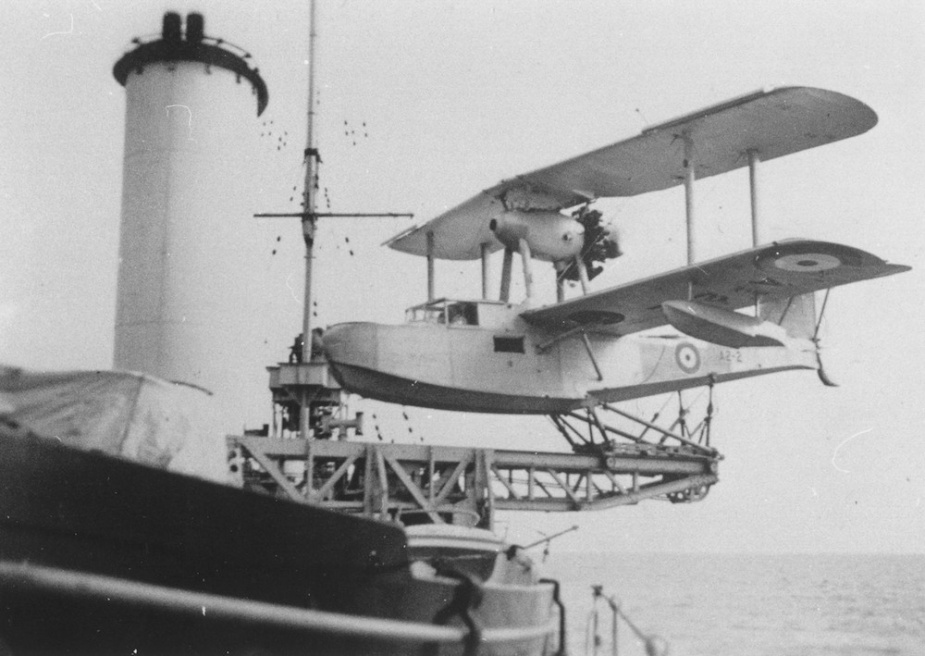 In addition to her naval complement Sydney carried six members of the Royal Australian Air Force who manned and maintained her embarked Seagull V amphibian aircraft.