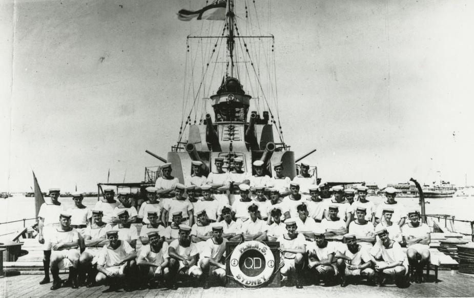 HMAS Sydney's quarterdeck division circa 1940.