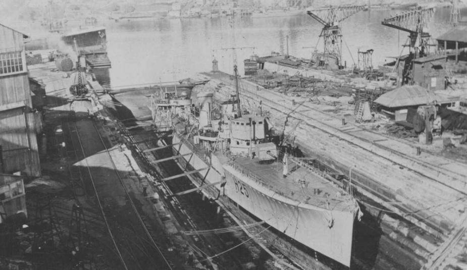 HMAS Tasmania in dry dock at Cockatoo Island 1924.