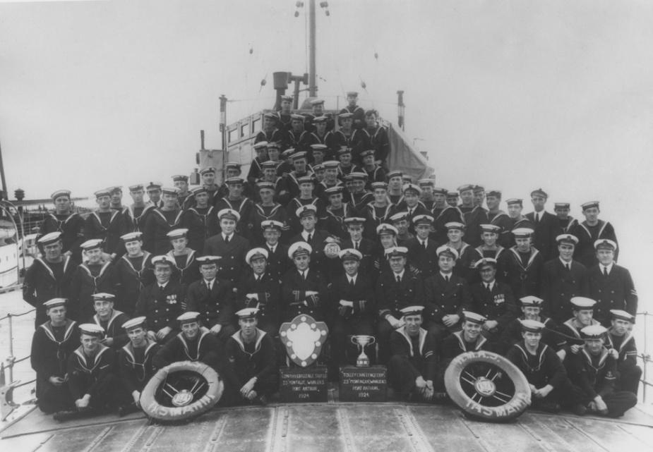 Ships company of HMAS Tasmania, Port Arthur, 1924.