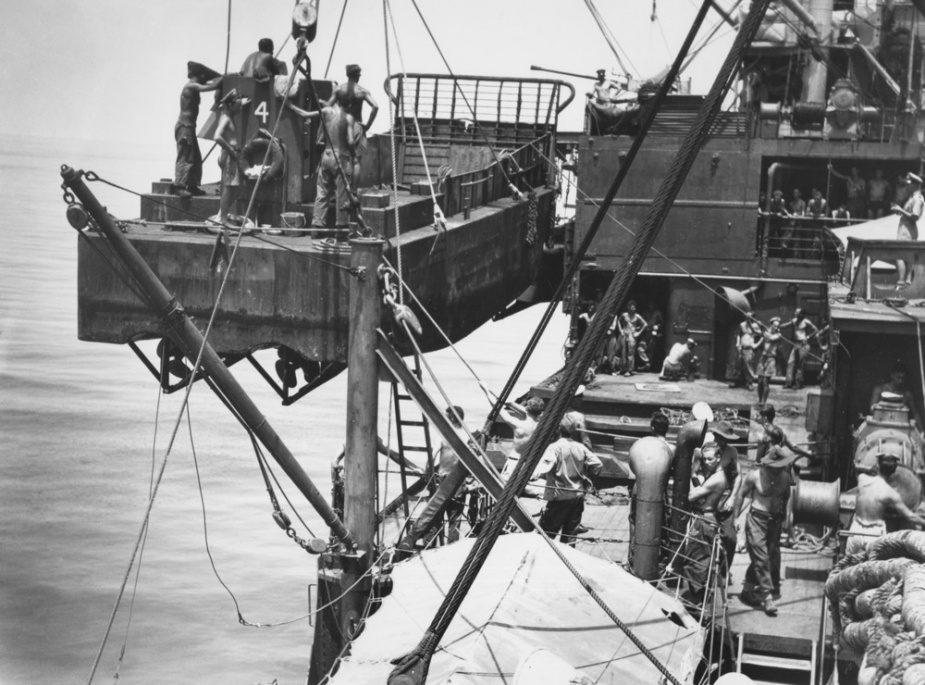 One of the ship's assault landing craft, viewed from the aft gun platform of the landing ship infantry Westralia, as it swung aboard during the movement of the 2/24 Infantry Battalion troops, Morotai, 18 April 1945.