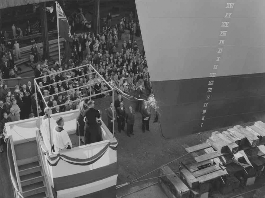 The launching of Yarra (III) by Lady McBride, wife of the Minister for Defence on 30 September 1958 at Williamstown Naval Dockyard, Melbourne.