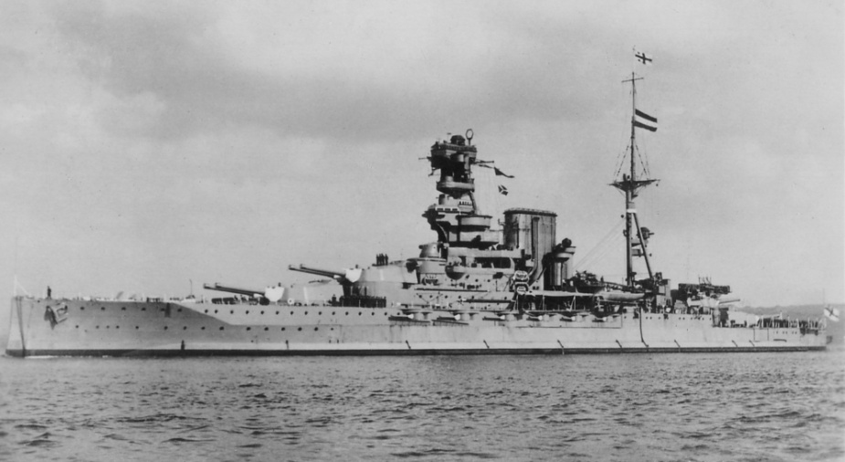 The battleship HMS Barham that was later torpedoed and sunk in the Mediterranean by U-331.