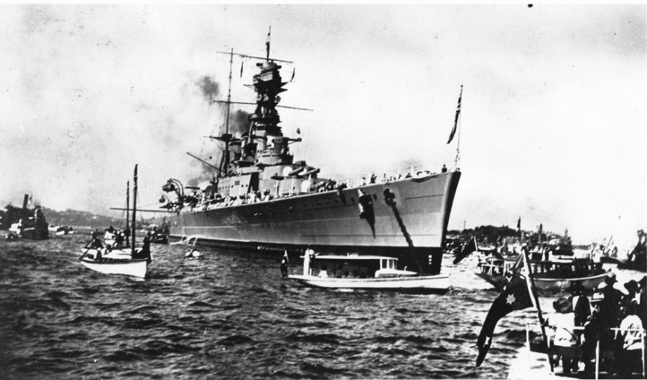 HMS Hood anchored in Sydney Harbour, 9 April 1924.