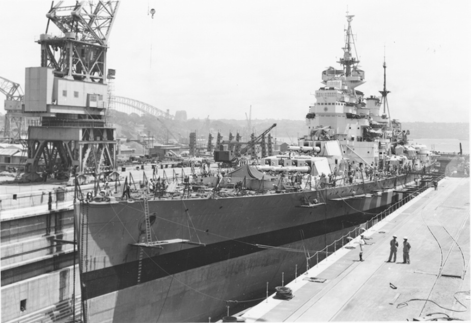 HMS King George V was one of the many ships of the British Pacific Fleet to undergo maintenance in the newly constructed Captain Cook Graving Dock.