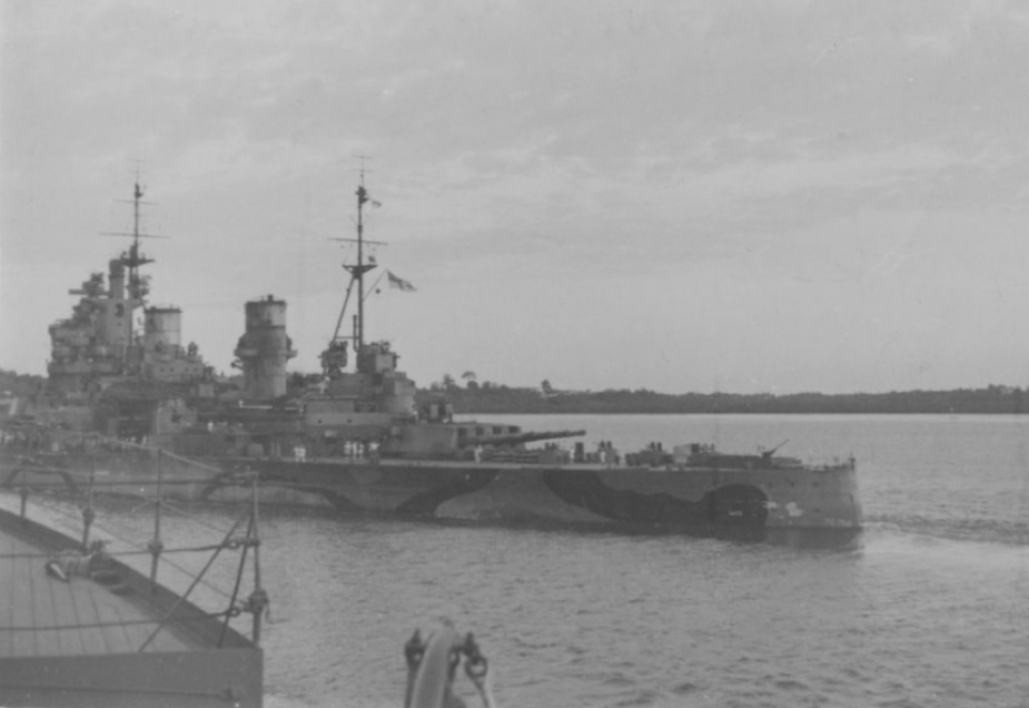 The British battleship HMS Prince of Wales departing Singapore