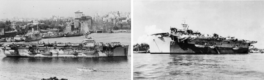 In additon to the large fleet carriers, numerous escort carriers supported offensive operations in the Pacific. Left: HMS Ruler in Sydney Harbour. Right: HMS Shah