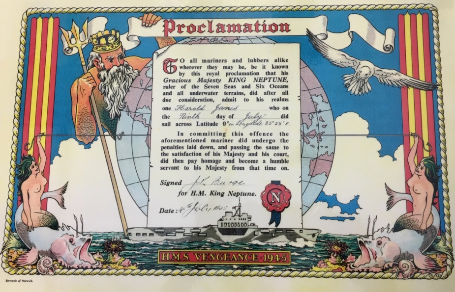 The Royal Navy has been issuing Crossing the Line certificates for hundreds of years. This example from HMS Vengeance dates from 1945.