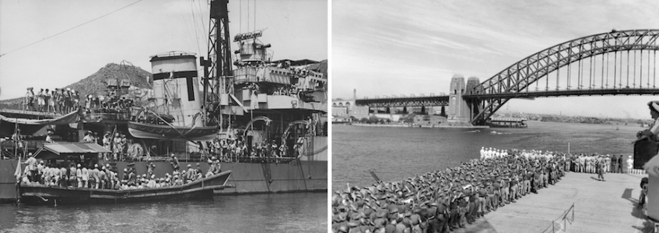 Left: Japanese prisoners boarding HMS Whirlwind following the cessation of hostilities. Right: HMS Speaker repatriates former Australian prisoners of war to Sydney.