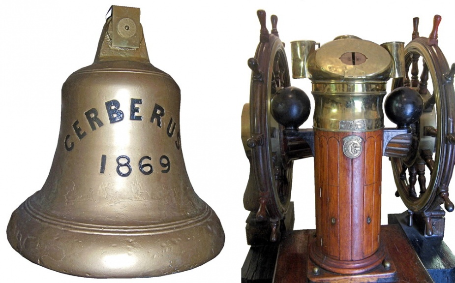 The bell, binacle and ship's helm from Cerberus, now on display in the HMAS Cerberus Museum, Westernport, Victoria