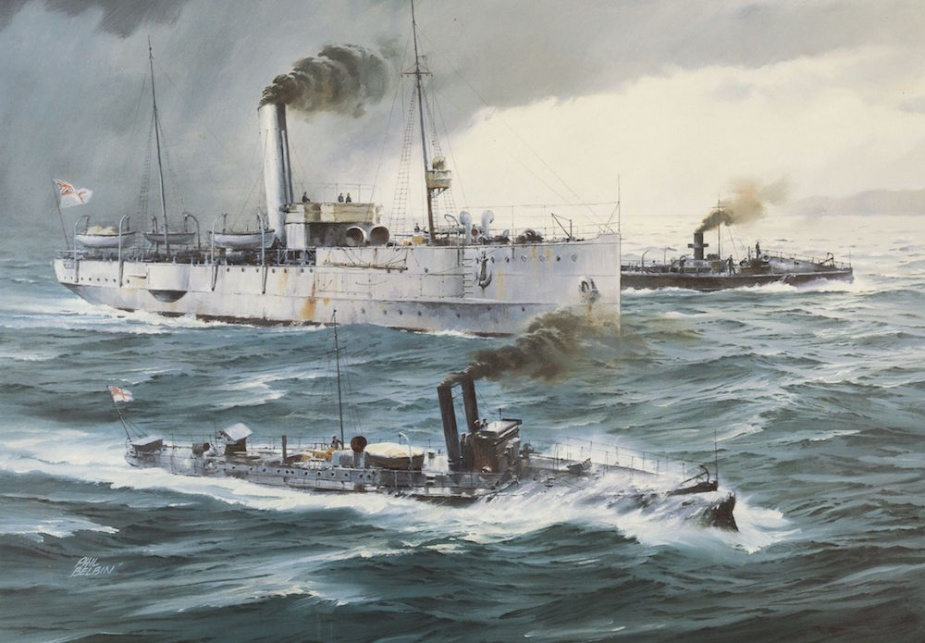 The gunboats Childers and Protector exercising with Countess of Hopetoun on Port Phillip Bay, circa 1915. (Artwork by Phil Belbin)