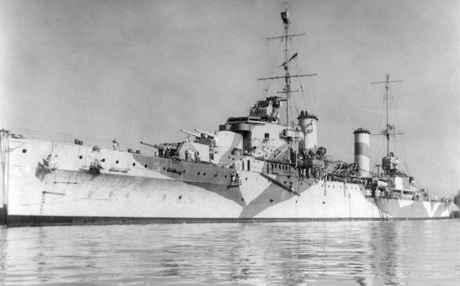 HMAS Hobart (I) is her WWII camouflage paint scheme.