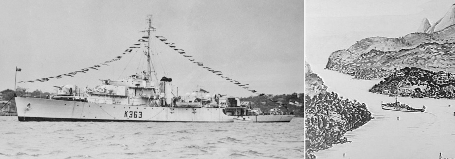 Smyth's great skill as an artist was being honed while serving in the RAN, as can be seen in his sketch of the frigate HMAS Hawkesbury in Buka Passage, Solomon Islands. (AWM collection)