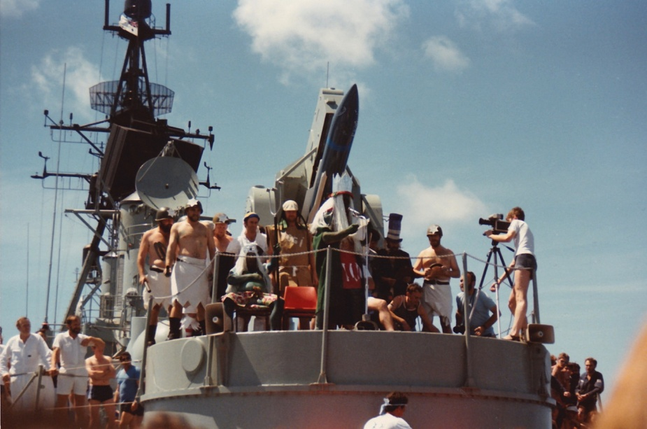The aft missile launcher onboard HMAS Hobart (II) was the perfect place to hear the petitions of those appearing before Neptunus Rex in 1985.