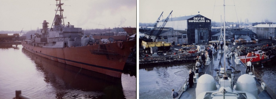 HMAS Hobart (II) fitting out in the yard of the Defoe Shipbuilding Company, Bay City, Michigan, 1964.