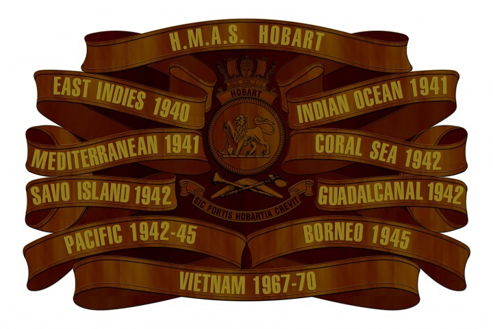 HMAS Hobart (II)'s official Battle Honours board.