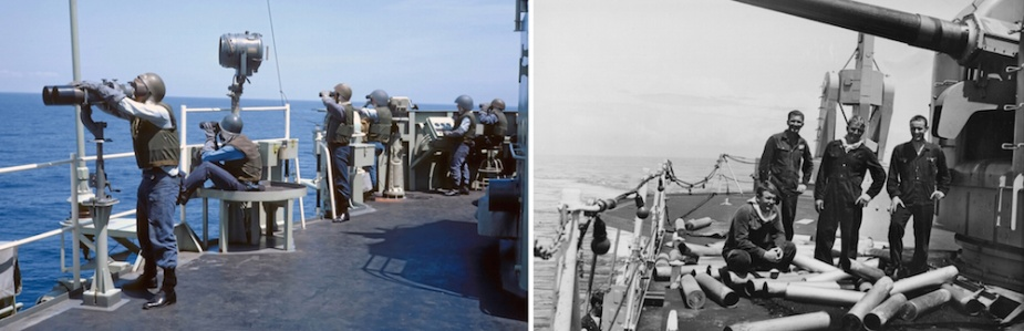 Left: HMAS Hobart (II)'s tactical operators and anti-aircraft control crews closed up at action stations on the upper deck. Right: Members of the crew with expended shell casings from Mount 52. L-R: Billy Stokes, Ray Quill, Geoff Brown and David Watts.