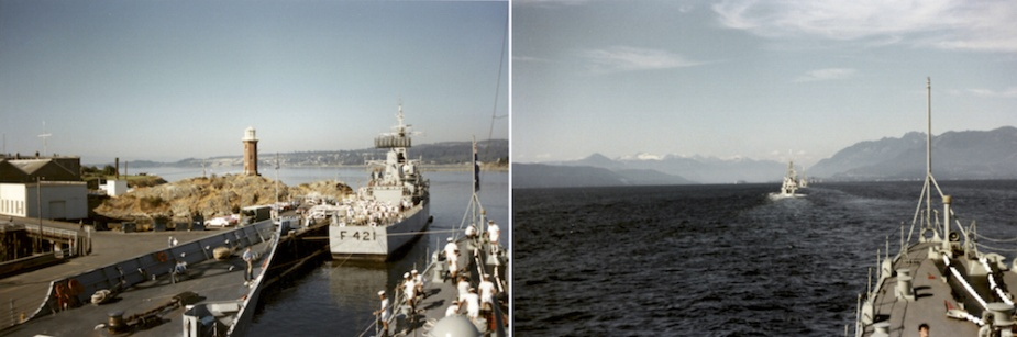 Left: HMAS Hobart (II) berthed alongside the recently commissioned HMAS Darwin in Esquimalt, BC. Ahead can be seen the New Zealand frigate HMNZS Canterbury. Right: Hobart steaming through the Juan de Fuca straits on passage to Vancouver. (DJ Perryman collection)