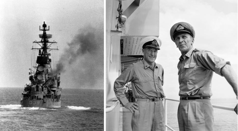 Left: HMAS Hobart (II) firing on the Gunline. Right: Rear Admiral GJB Crabb, right, CBE, DSC, Flag Officer Commanding Australian Fleet (FOCAF), confers with HMAS Hobart (II)'s Commanding Officer Captain KW Shands. (AWM NAVY17131)