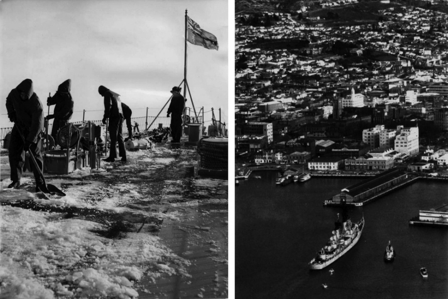 Left: Clearing snow from the foc'sle during a cold snap, USA, 1966. Right: Hobart arrives in her namesake port, September 1966.