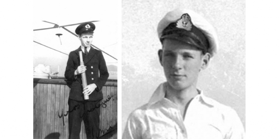 Left: James Hume as a young Cadet in the Merchant Navy. (Photo courtesy Professor David Hume). Right: Midshipman James Hume.