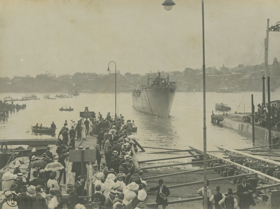 HMAS Huon takes to the water for the first time, 19 December 1914