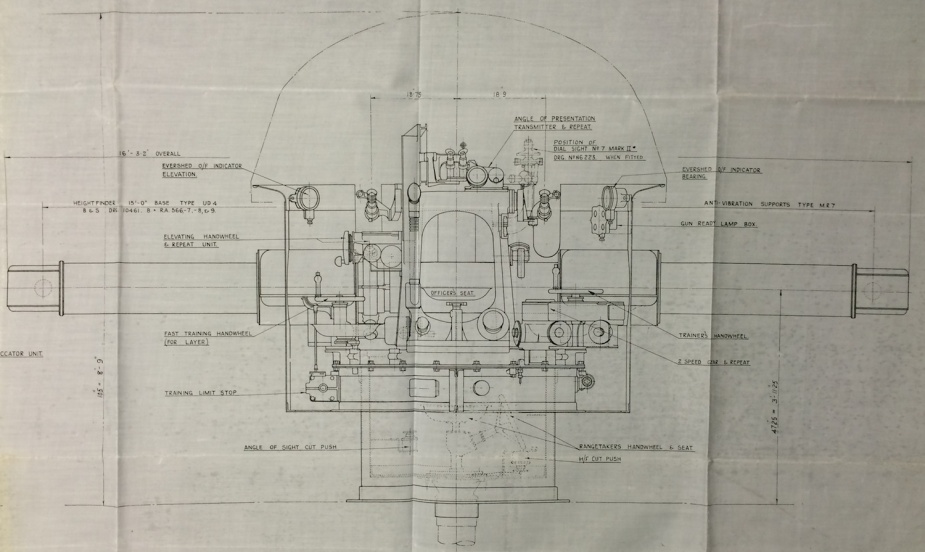 The rear elevation plan of the HACS indicating the 'rate' officer's position and associated equipment.