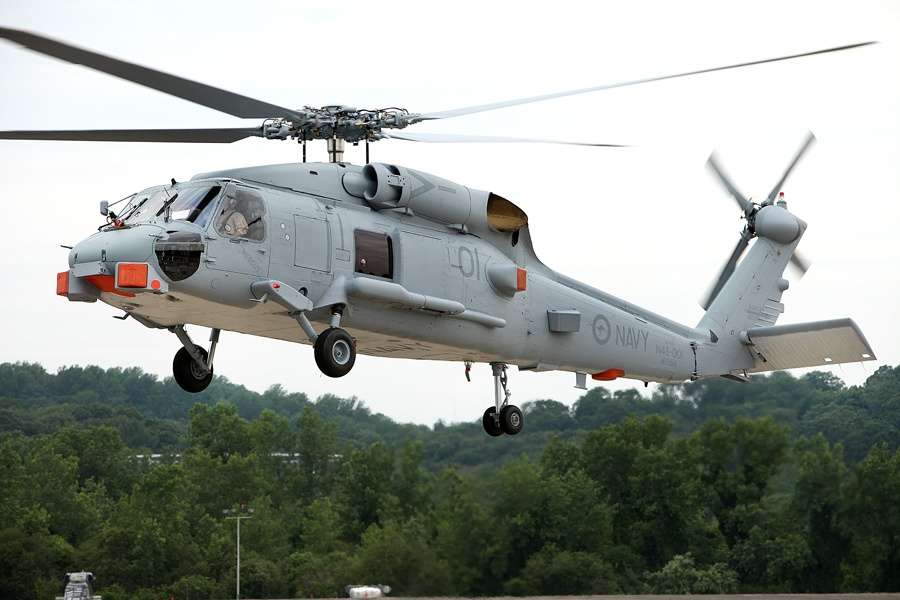 Carrying the tail number N48-001, Australia's first Seahawk Romeo completed its initial test flight at Sikorsky's production facility in Stratford, Connecticut, on 26 June 2013. The helicopter successfully passed a range of tests during the 1 hour and 20 minute sortie including controllability, engine performance, vibration analysis and navigation. A second sortie later that day completed the 'Contractor Flight Acceptance' phase.