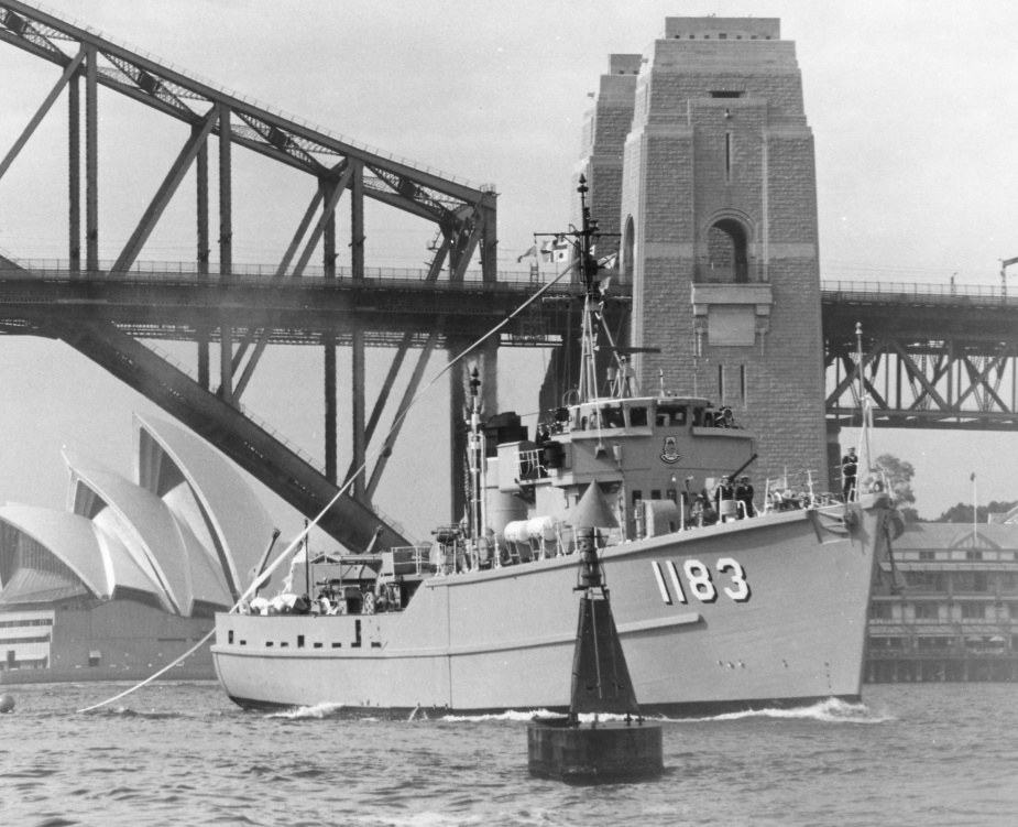 HMAS Ibis in Sydney Harbour just prior to decommissioning.