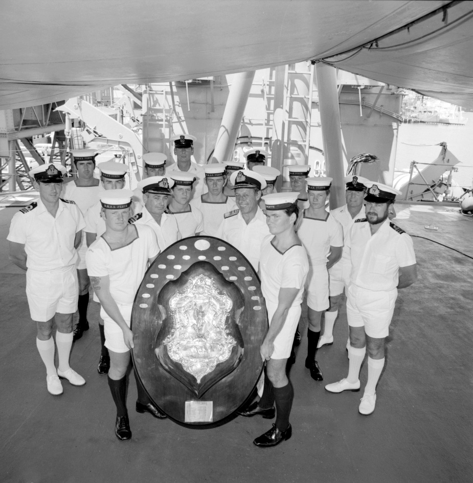 HMAS Perth (II) was awarded the Otranto Shield in 1981. A proud moment for members of the gunnery department.