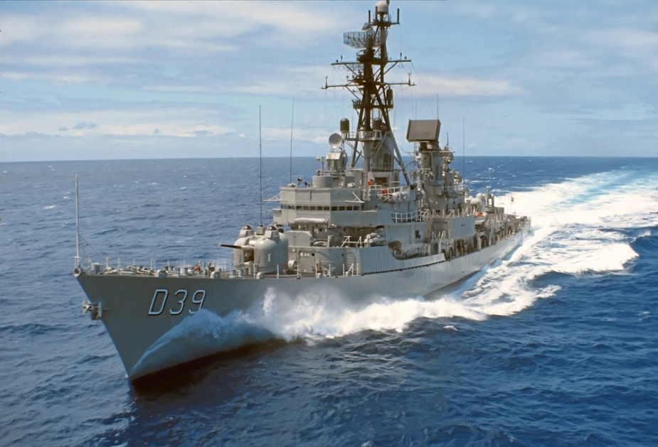 HMAS Hobart (II) underway in the waters off Vietnam (Bevin Stringer)