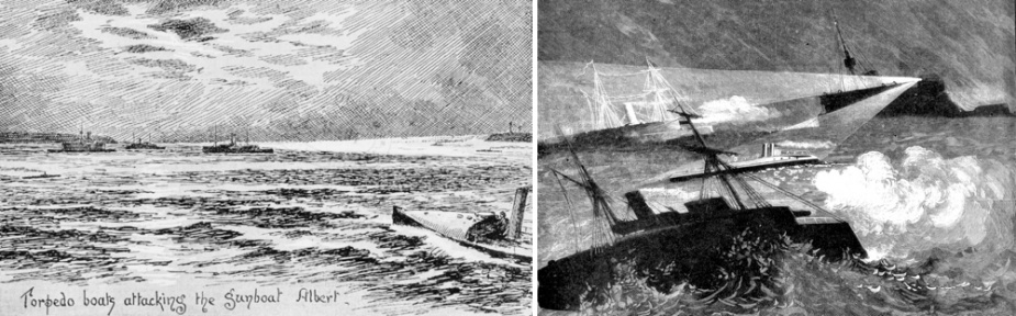 Left: Torpedo boats attack Albert during manoeuvres on Port Phillip Bay. Right: Albert leads a mock attack on HMVS Cerberus