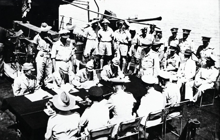 The Ocean Island surrender is signed onboard HMAS Diamantina