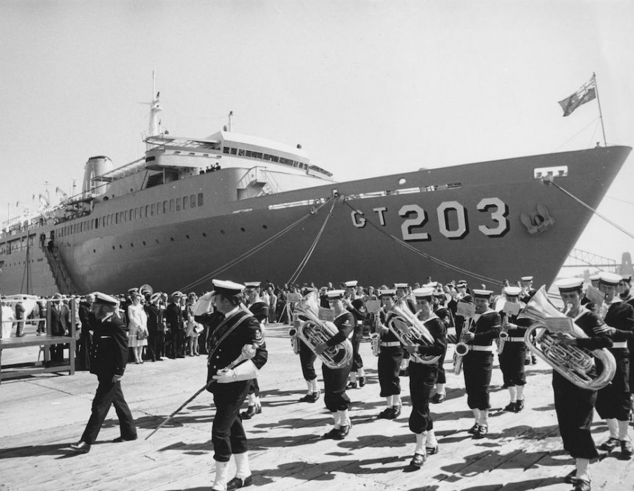 HMAS Jervis Bay alongside during her commissioning ceremony.