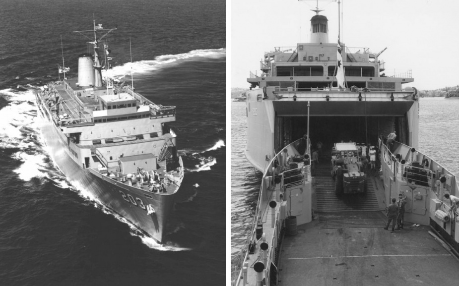 Left: HMAS Jervis Bay during her second training cruise in March 1978. Among the trainees were junior officers from Papua New Guinea, Malaysia, the Philippines and Fiji. Right: Jervis Bay conducts a stern door marriage with HMAS Balikpapan during Exercise GOLDEN SAND in December 1980.
