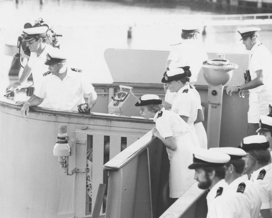 Three of the first group of six midshipmen WRANS to go to sea in an RAN vessel aboard HMAS Jervis Bay as she approaches Cairns in May 1980.