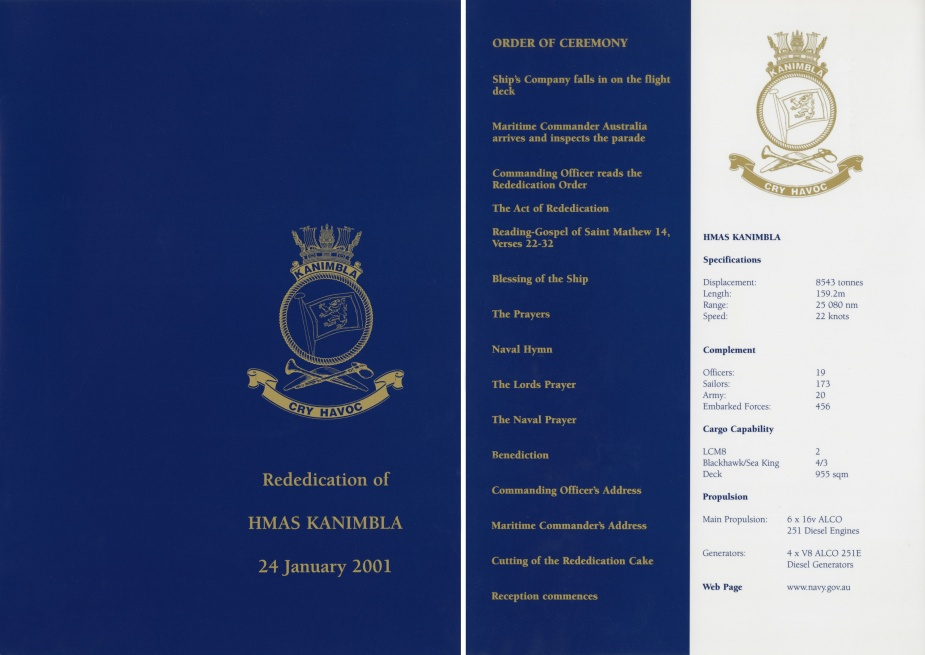 Kanimbla's redidication order of service, 24 January 2001