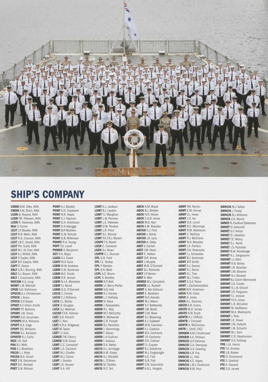HMAS Kanimbla's decommissioning ship's company.