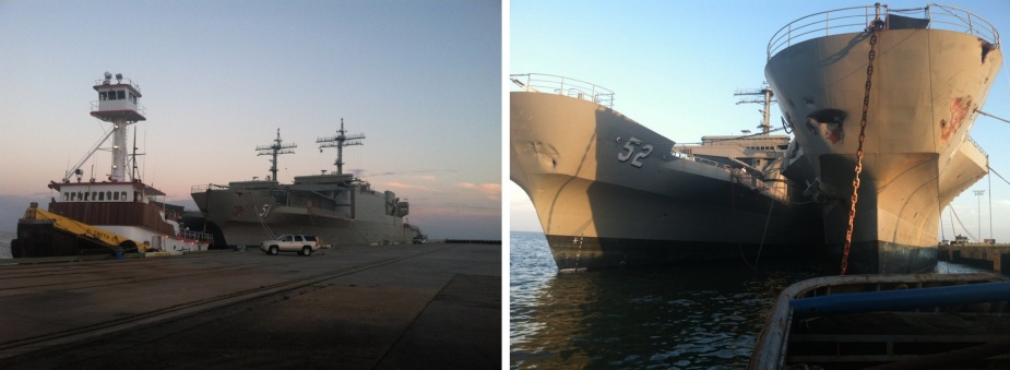Left: Kanimbla and Manoora alongside at Gulfport with the tug Elsbeth II in attendance (Scott Hooper). Right: The two LPAs at rest at Gulfport Mississippi (Scott Hooper).