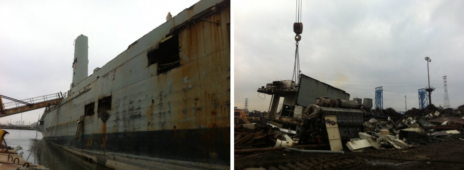 Left: Kanimbla's hull beached in the breakers yard (Marsha Coates). Right: A large piece of Kanimbla is craned ashore beside one of her engines (Marsha Coates).