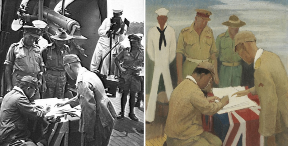 Left: Major General Yamamura signing the instrument of surrender on Kapunda. (AWM 116174) Right: The surrender ceremony captured by war artist Douglas Watson. (AWM ART25662)