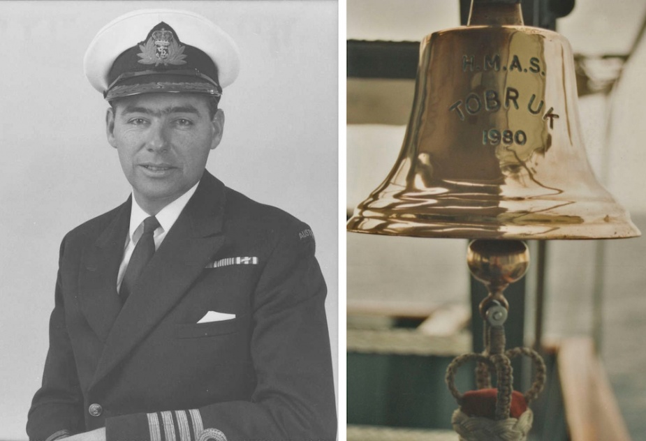 Right: Captain Kenneth A Doolan, Tobruk's first Commanding Officer. Left: HMAS Tobruk's ship's bell.