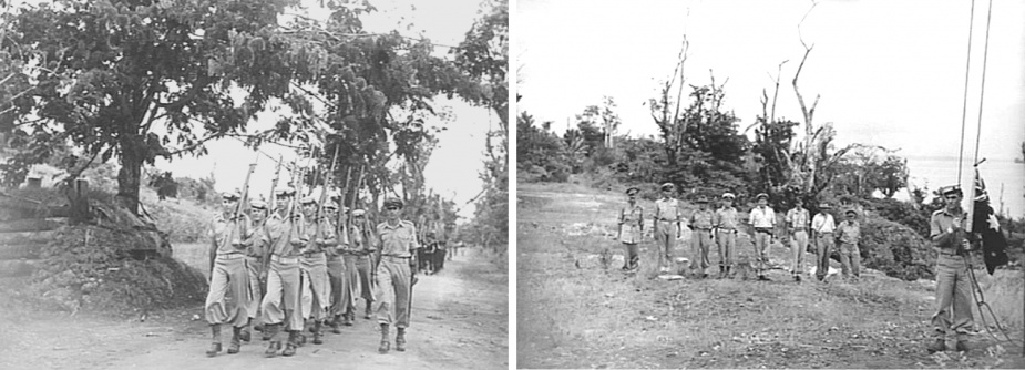 Left: An Australian New Guinea Administrative Unit Administrative Headquarters was set up at Kavieng with Captain FNW Shand, Angau district officer in charge, to operate in New Ireland and surrounding smaller islands. A RAN detachment from Kiama, shown, marching to the flagpole site for the ceremony of hoisting the Australian Flag, circa October 1945. (AWM 098434)  Right: An Australian RAN rating from Kiama about to hoist the Australian Flag on a Japanese rigged flagpole at the Australian New Guinea Administrative Unit Administrative Headquarters. Officers of the AIF, RAN and RAAF are in the background. (AWM 098347)