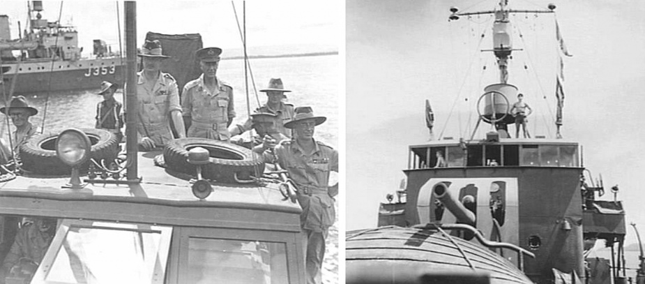 Left: His Royal Highness, the Duke of Gloucester, Governor-General of Australia, coming in on a launch at Motupena Point for an inspection of 3 Division Area, circa July 1945. L-R: unidentified; unidentified; His Royal Highness, the Duke of Gloucester; Lieutenant-General VAH Sturdee, General Officer Commanding First Army; unidentified; Lieutenant-General SG Savige, General Officer Commanding 2 Corps. HMAS Kiama can be seen in the background (AWM 093678). Right: The bridge and mast of Kiama, as seen from the forecastle. (AWM 078155)