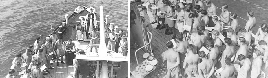 A navy church service being conducted on board HMAS Kiama in Bougainville, circa July 1945. The service was conducted by Chaplain FO Hulme-Moir, Headquarters 2 Corps. Personnel from HMAS Lithgow and HMAS Dubbo also attended the service. The organist was Lieutenant-Colonel RR Winton, deputy assistant director of medical services, Headquarters 2 Corps. (AWM 093765)