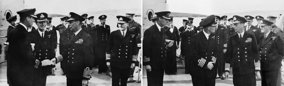 HM King George VI greets Commander Harries and Captain Collins on the occasion of his visit to the newly commissioned HMAS Shropshire