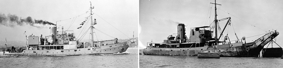 Left: HMAS Kookaburra.  Right: HMAS Koala.